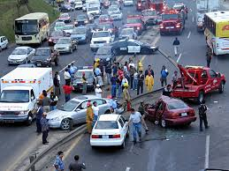 Photo of a large car accident